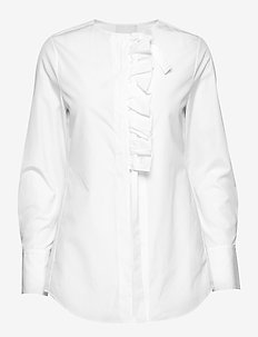 LS SHIRT W FRONT RUFFLE - OPTIC WHITE