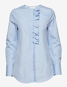 LS SHIRT W FRONT RUFFLE - OXFORD BLUE