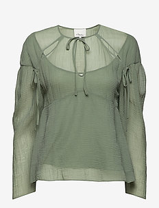 LS TEXTURED SILK BLOUSE W OVERLAY - AQUARELLE