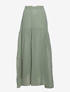 TEXTURED SILK MAXI SKIRT - AQUARELLE