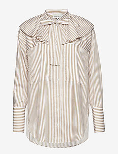 LS STRIPED SHIRT W RUFFLE COLLAR - KHAKI-WHITE