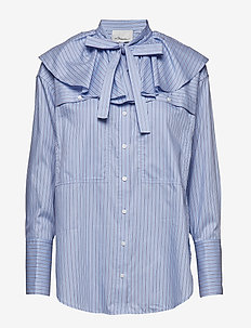 LS STRIPED SHIRT W RUFFLE COLLAR - LIGHT BLUE-NAVY