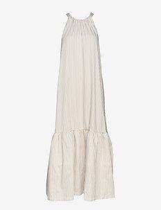 LONG STRIPED TENT DRESS - KHAKI-WHITE