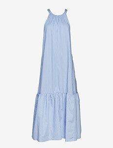 LONG STRIPED TENT DRESS - LIGHT BLUE-NAVY