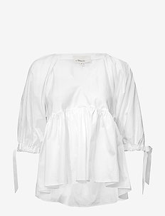 V NECK COTTON POPLIN EMPIRE TOP - OPTIC WHITE