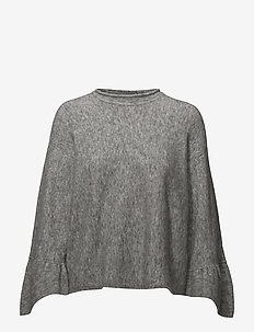 EXCLUSIVE PULLOVER W RUFFLE CUFFS - trøjer - medium melange grey