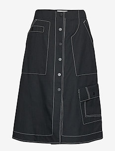 HIGH WAISTED DENIM MID SKIRT - BLACK