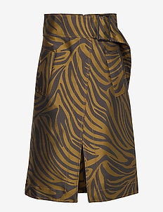 ZEBRA BELTED TOPSTITCH SKIRT - BRAUN-BLACK