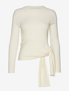 RIBBED PULLOVER W WAIST TIE - trøjer - ant. white