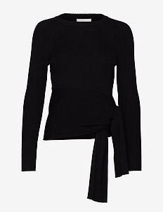 RIBBED PULLOVER W WAIST TIE - BLACK