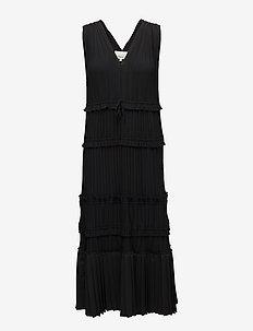 SL PLEATED VNECK DRESS - korte kjoler - black