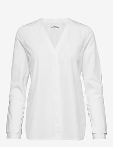 LS POPLIN TOP W PEARL CUFFS - langærmede bluser - optic white
