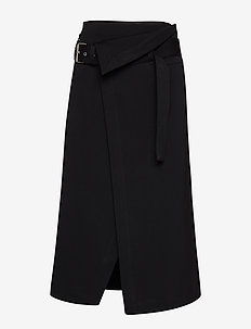 SIDE WRAP MIDI STRUCTURED TWILL SKIRT - DARK MIDNIGHT