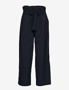 CROPPED PAPERBAG PANT - bukser med brede ben - navy-indigo