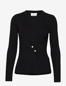 LS RIBBED PEARL PIN PULLOVER - trøjer - black