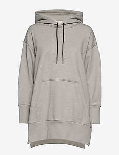 LS FRENCH TERRY OVERSIZED HOODIE W SIDE CUT OUTS - LT GREY MELANGE