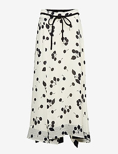 PRINTED SKIRT W BAND - IVORY-BLK