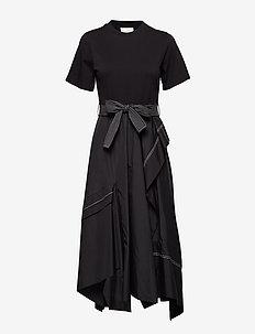 SS TSHIRT COMBO POPLIN DRESS - BLACK