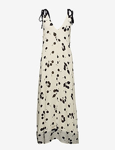 BACKLESS PRINTED MAXI DRESS - IVORY-BLK