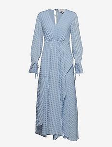 LS FLARE MAXI DRESS - OXFORD BLUE