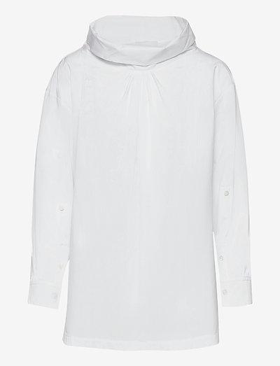LS POPLIN OVERSIZED DRAPE COLLAR SHIRT - kortermede bluser - optic white