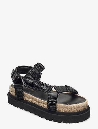 NOA - STRAPPY PLATFORM SLIDE - matalat sandaalit - black