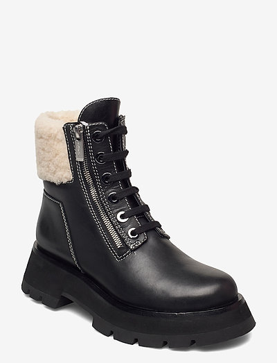 KATE - LUG SOLE DOUBLE ZIP SHEARLING BOOT - platta ankelboots - black
