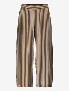 AIRY PANTS - laia säärega püksid - brown beige stripes