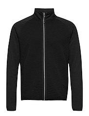 Mens Turnberry 3D stripe fleece fullzip - BLACK