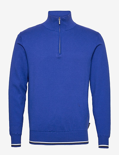 Mens Dubson windstop pullover - truien met halve rits - dk.cobalt