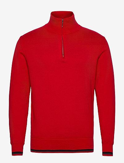 Mens Dubson windstop pullover - truien met halve rits - red