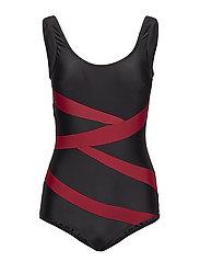 Twist, swimsuit - BLACK/WINE RED