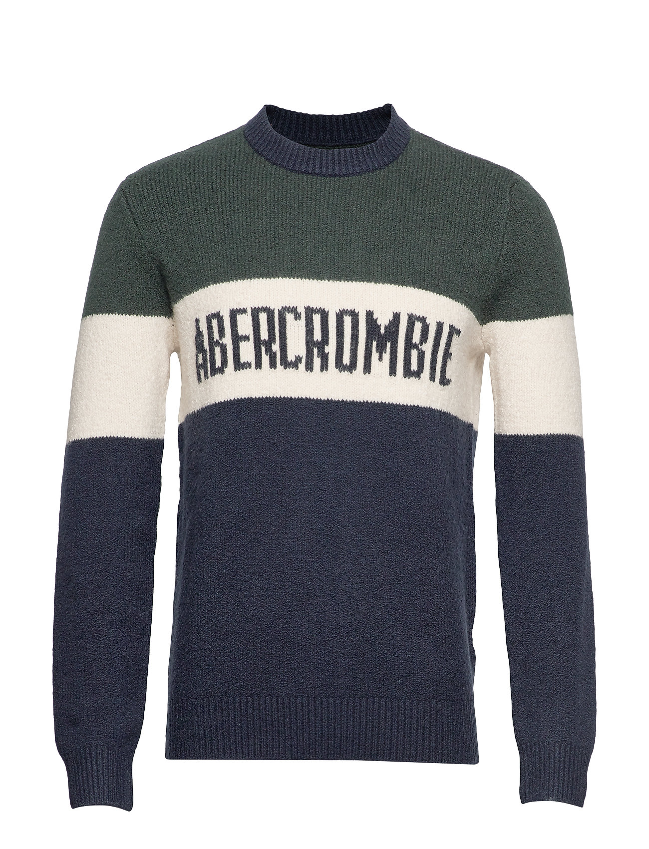 Abercrombie & Fitch Logo Crew Sweater - NAVY PATTERN