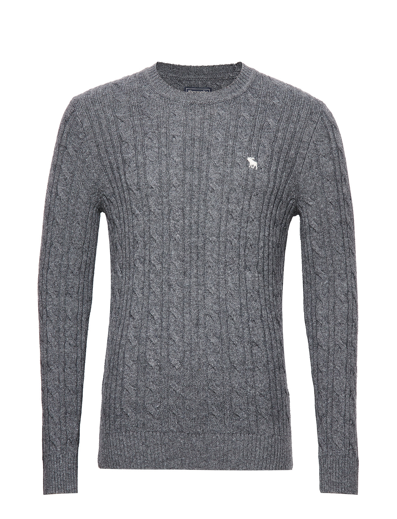 Abercrombie & Fitch Cable Crew Sweater - DARK GREY FLAT