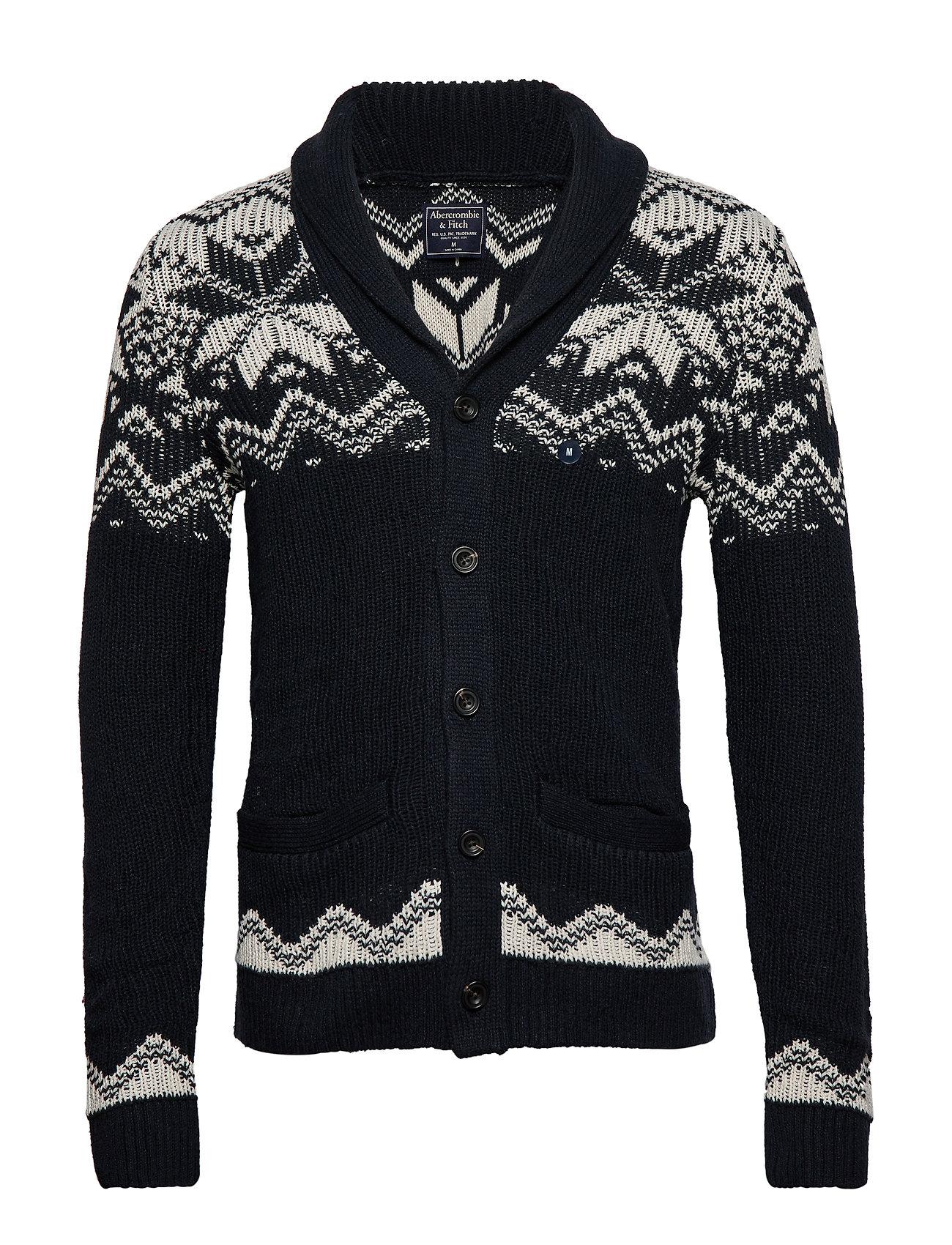 Abercrombie & Fitch Snowflake Shawl Cardigan - NAVY PATTERN