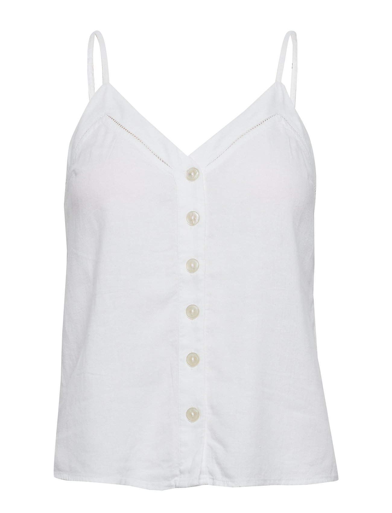 Abercrombie & Fitch Button Linen Cami - WHITE