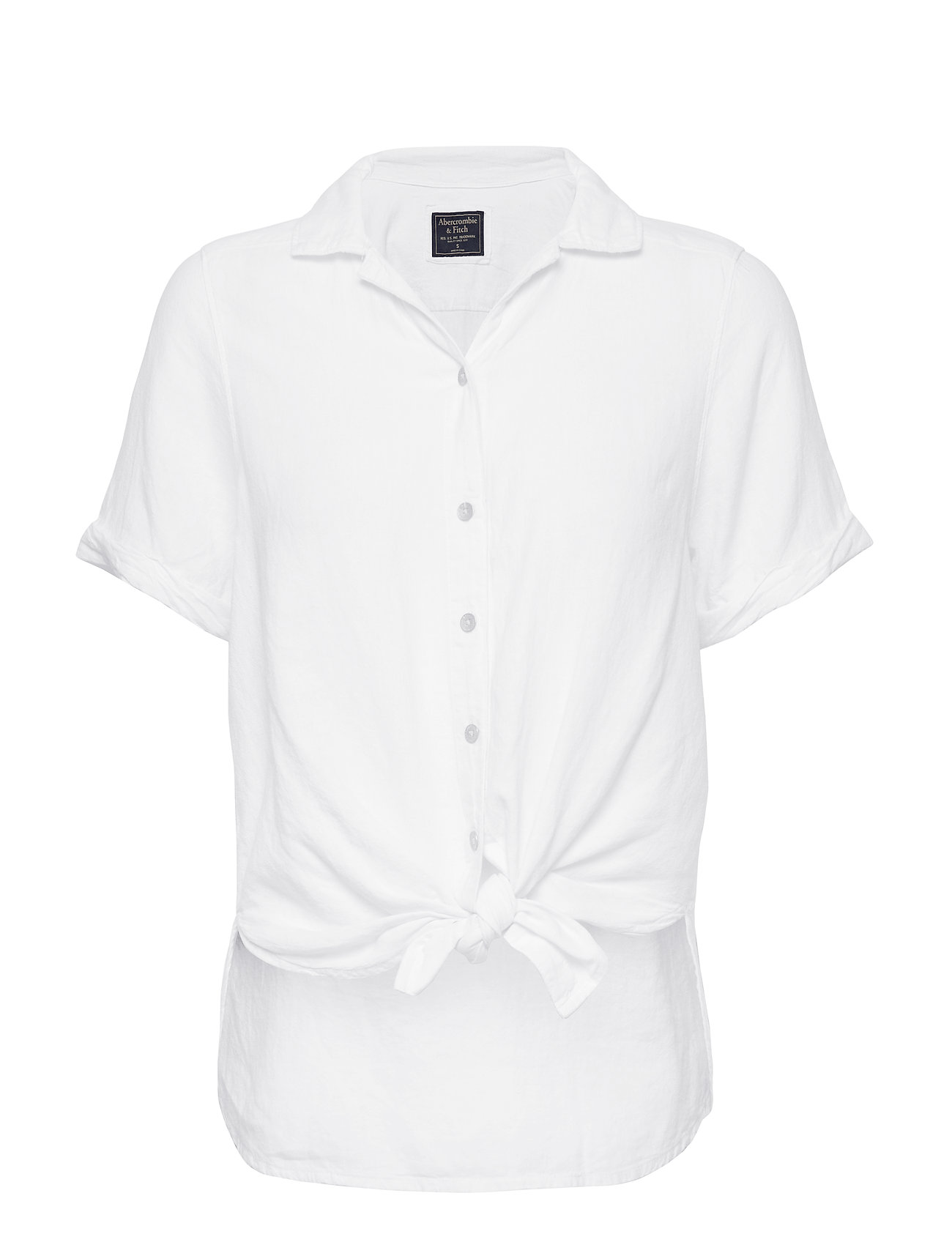 Abercrombie & Fitch Linen Tie Front Shirt - WHITE