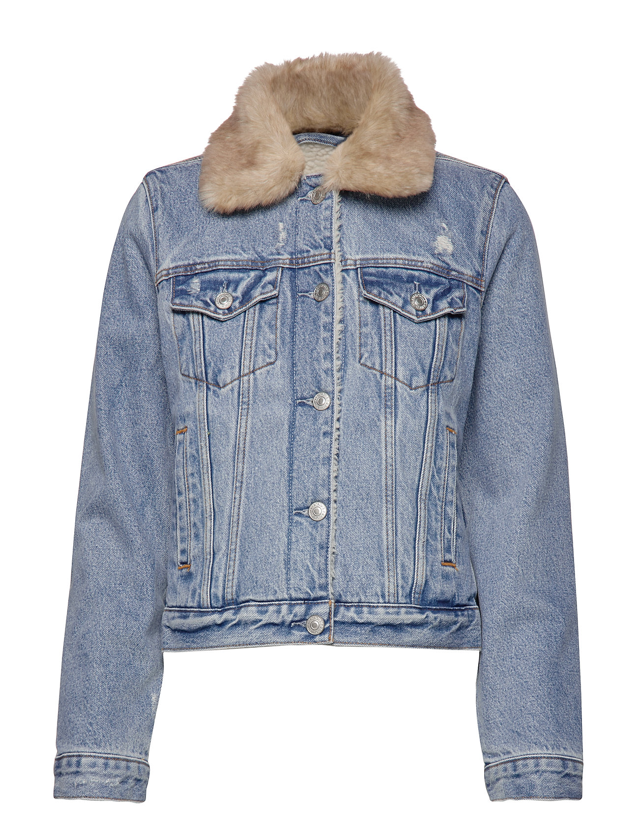 Abercrombie & Fitch Sherpa Collar Denim Coat - LIGHT BLUE DD