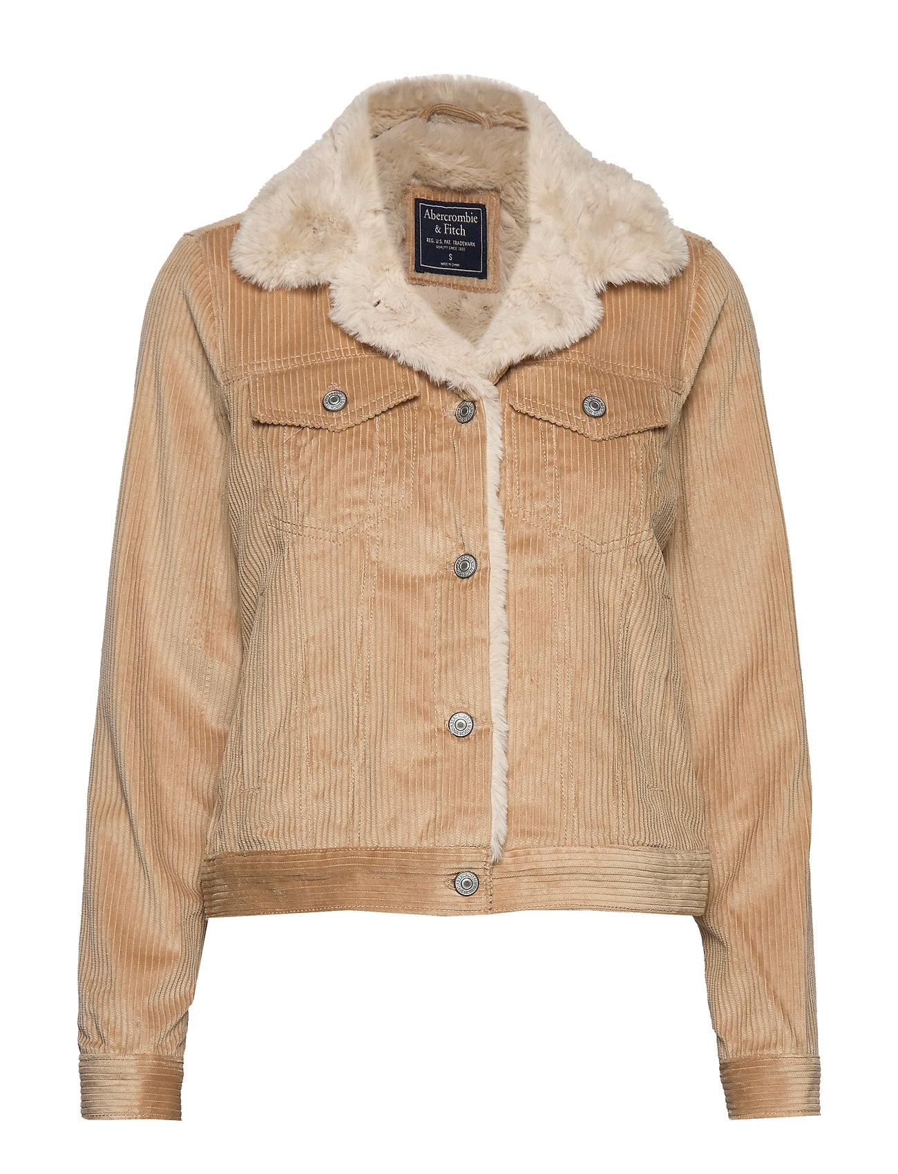 Abercrombie & Fitch Corduroy Trucker with Sherpa Collar - LIGHT BROWN DD