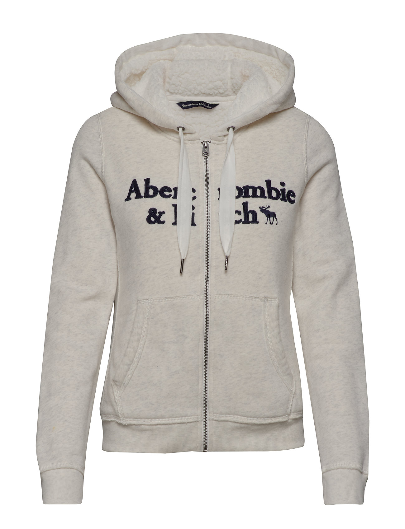 Abercrombie & Fitch Sherpa Linded Logo Full-Zip - LIGHT GREY SD/TEXTURE