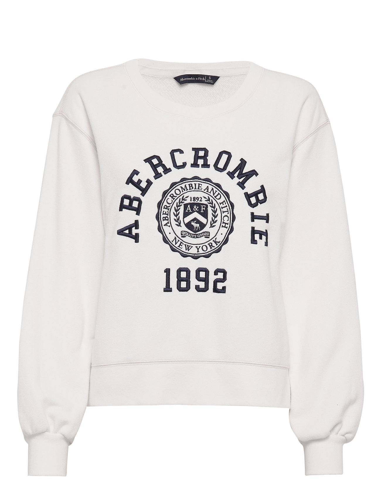 Abercrombie & Fitch Puff Sleeve Logo Crew - WHITE