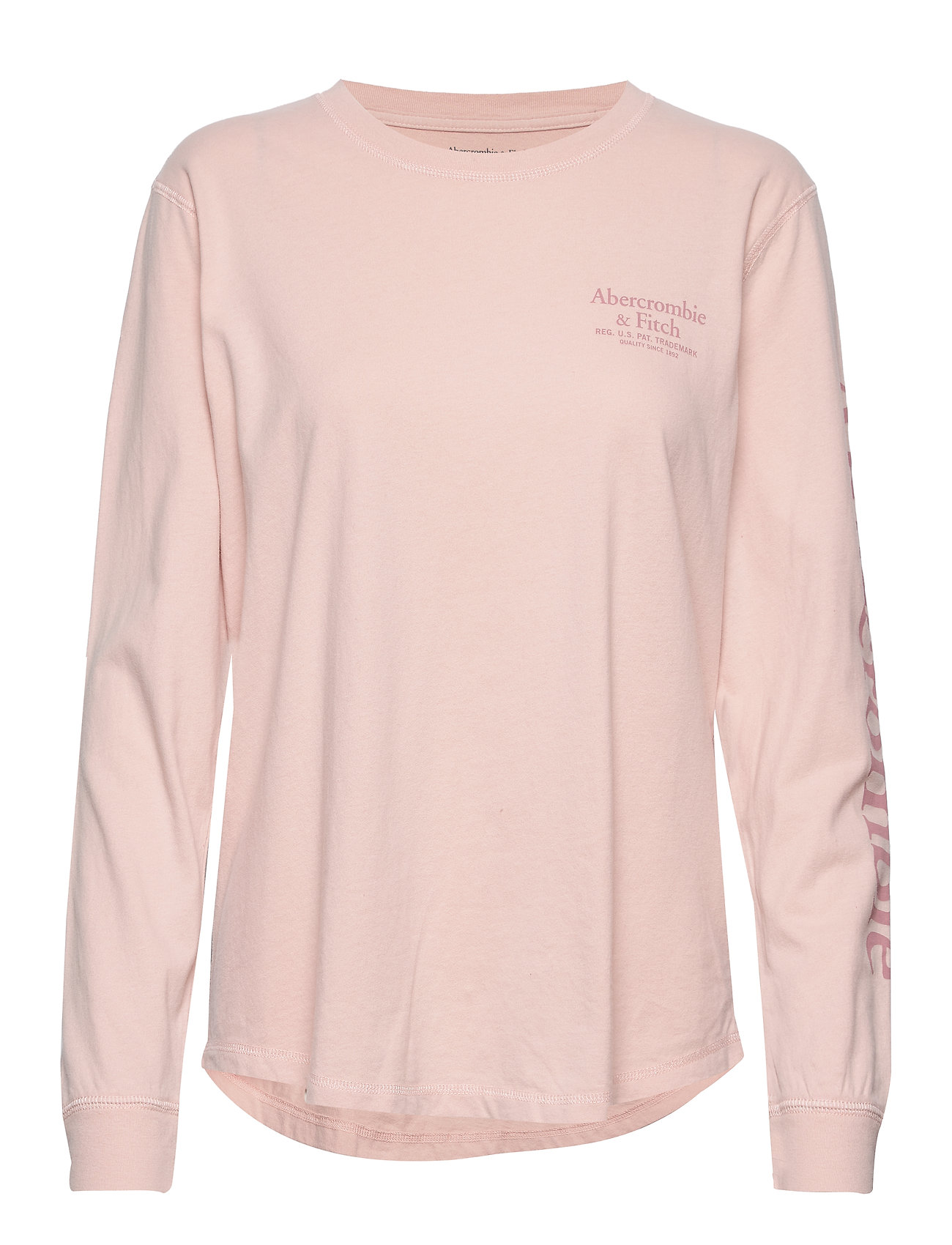 Abercrombie & Fitch Long Sleeve Logo Tee - MED PINK DD