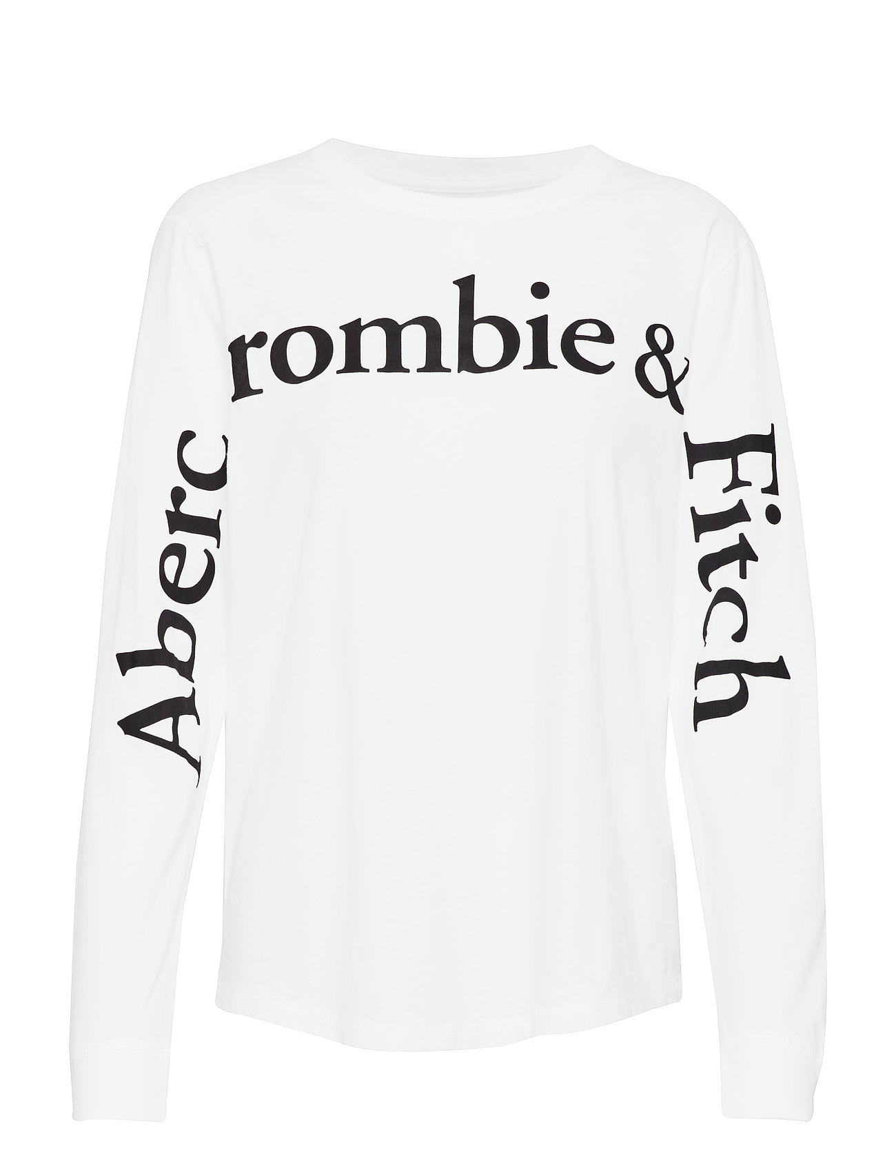 Abercrombie & Fitch Long Sleeve Logo Tee - WHITE
