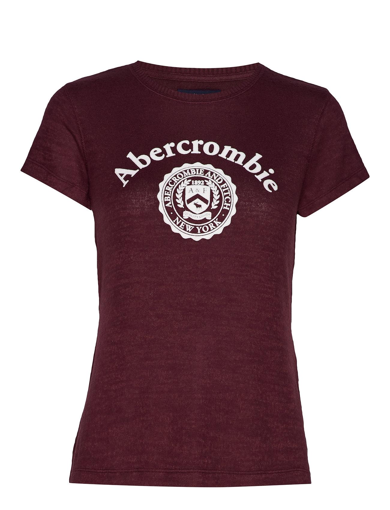 Abercrombie & Fitch Cozy Logo Tee - BURGUNDY DD