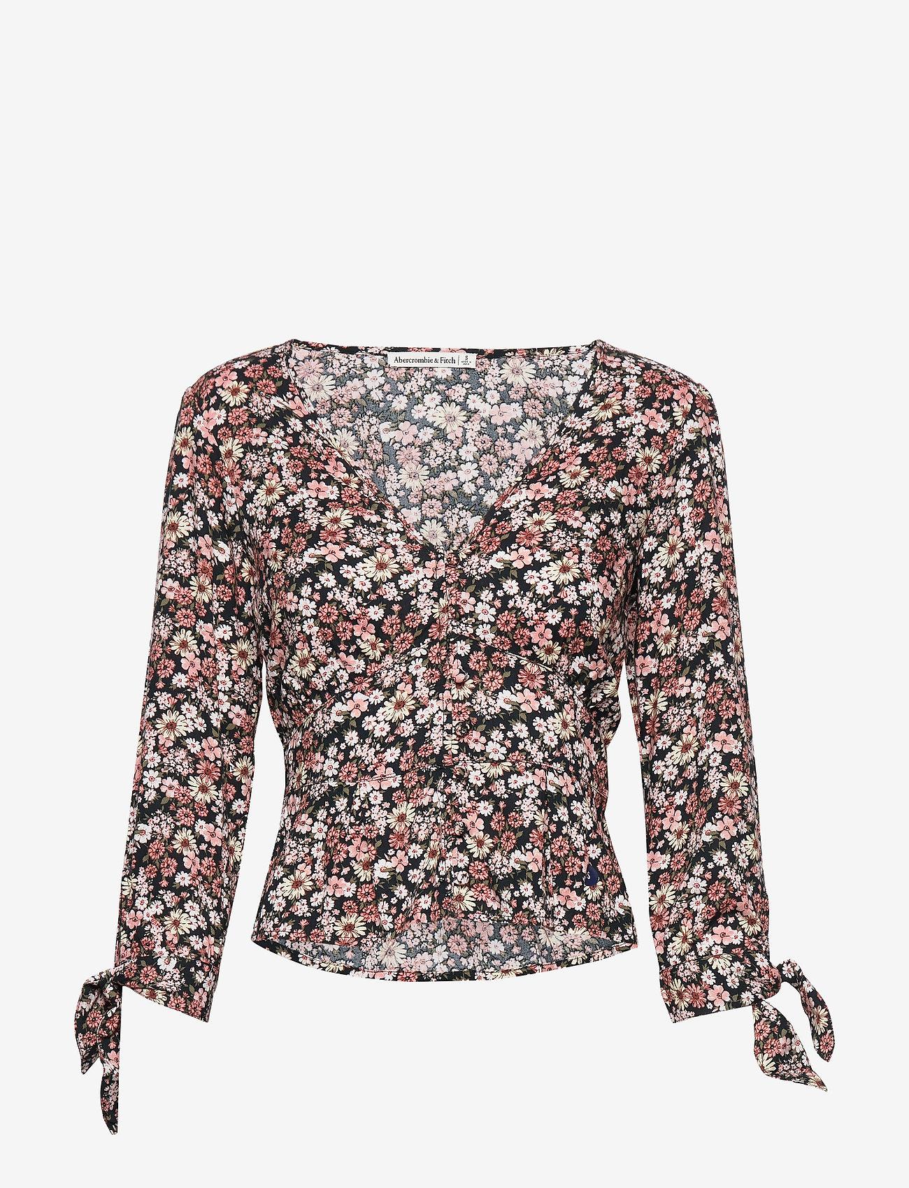 Abercrombie & Fitch Mimosa Top - T-shirty i zopy BLACK PATTERN - Kobiety Odzież.