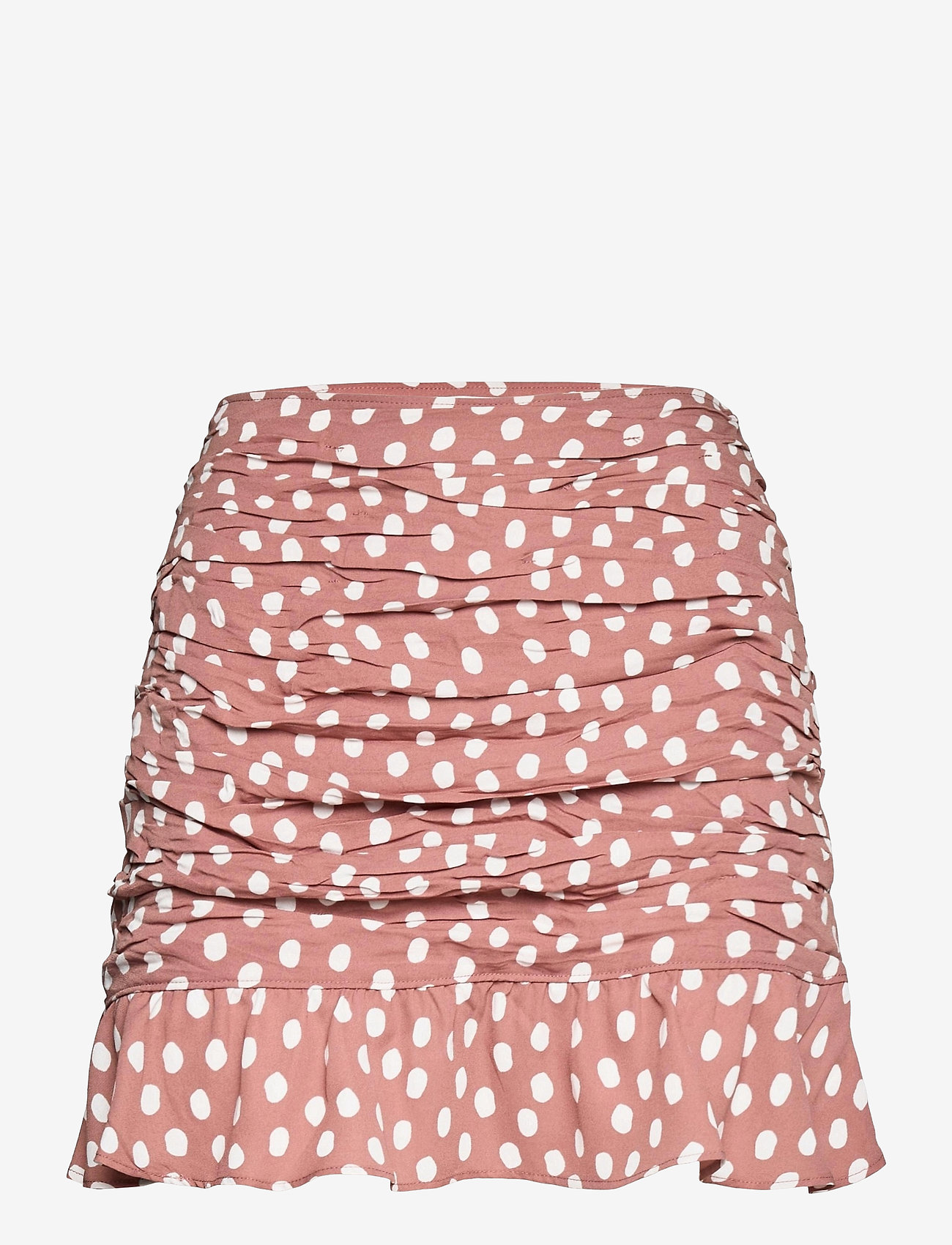 Abercrombie & Fitch - ANF WOMENS SKIRTS - korta kjolar - brown with white dots - 0