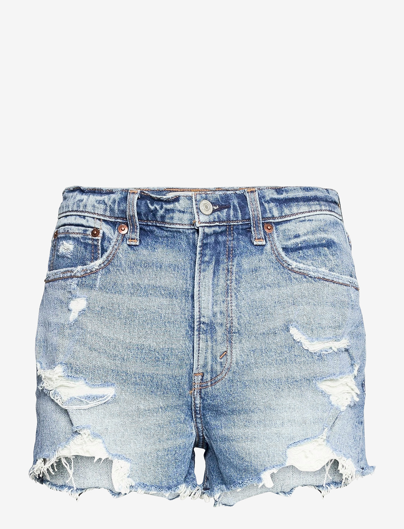 Abercrombie & Fitch - ANF WOMENS SHORTS - jeansshorts - medium destroy hr mom - 0