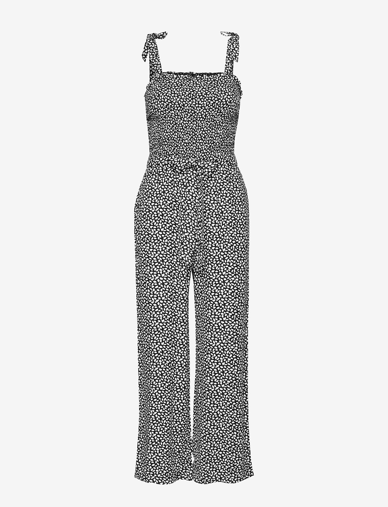 Abercrombie & Fitch - Leaf Smocked Jumpsuit - buksedragter - black print - 0
