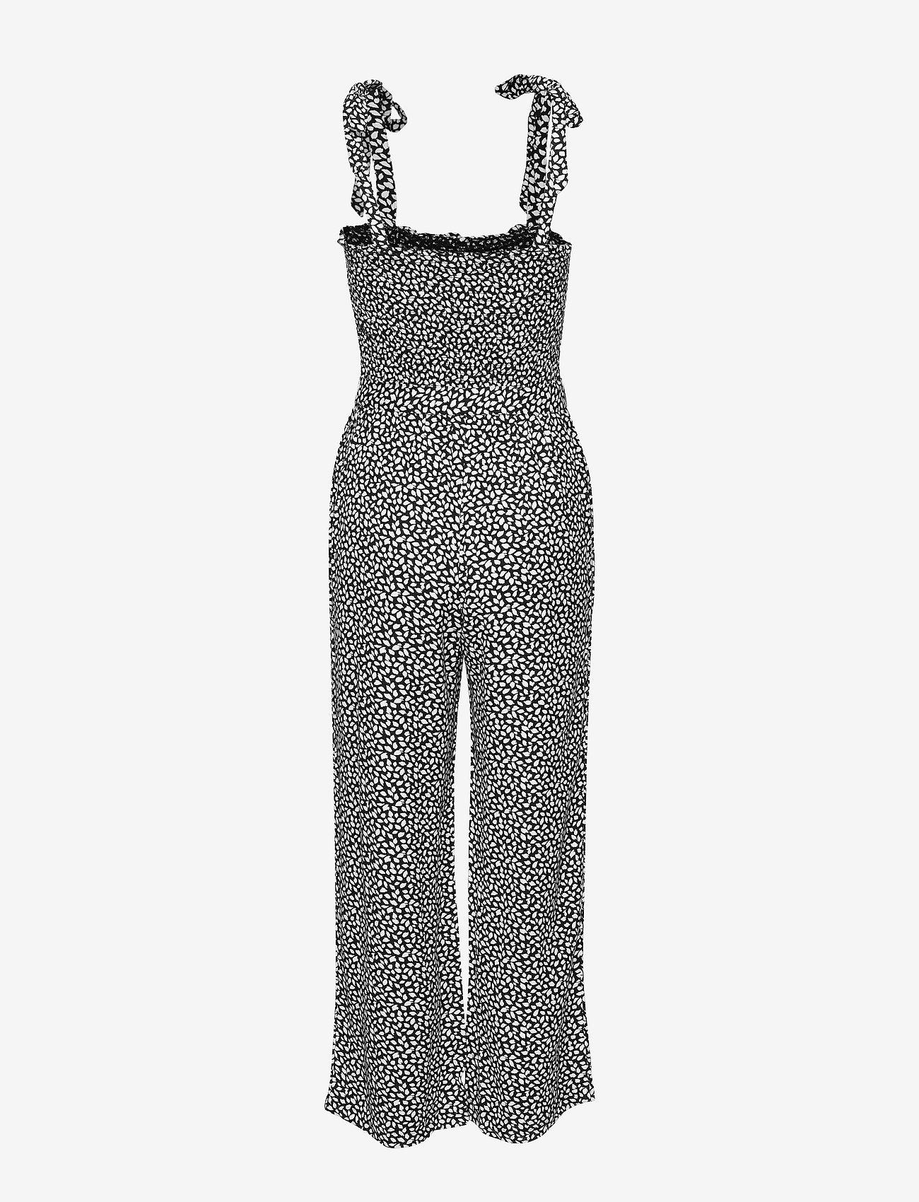 Leaf Smocked Jumpsuit (Black Print) (533.40 kr) - Abercrombie & Fitch