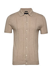 Button Up Polo - LIGHT BROWN DD